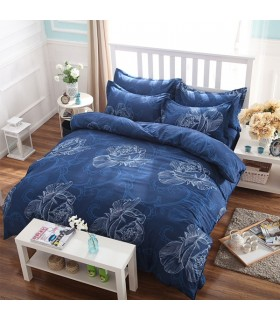 Blue graphic flower Bed sheets