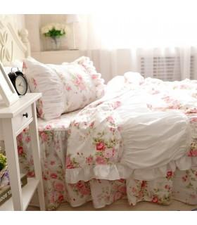 Shabby chic rosa Blumen Bettwäsche