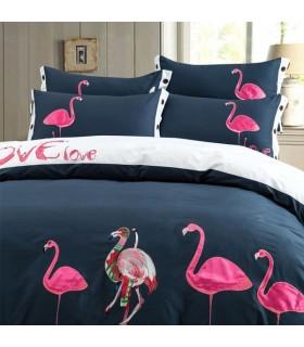 Flamingo fogli ricamo letto