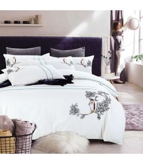 Broderie de hibou Feuilles de lit