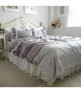 Draps de lit de dentelle vintage gris