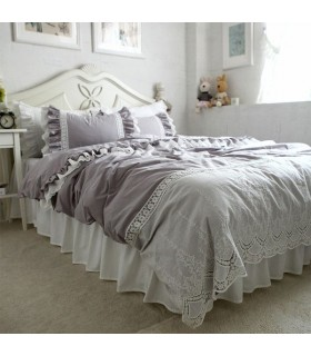 Grau Vintage Spitze Bettlaken