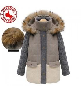 Col en fourrure naturelle col en tricot veste grise
