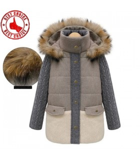 Natural fur collar knitted arms jacket
