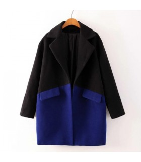 Black and blue lapel coat