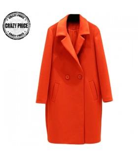Orange bouton unique manteau élégant