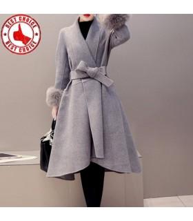 Maniche di eco-pelliccia cappotto grigio