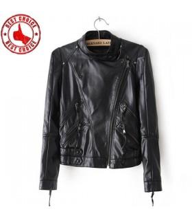 Veste courte en cuir noir