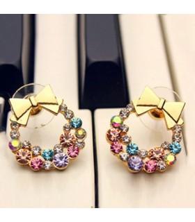Boucles d'oreilles strass coloré embelli