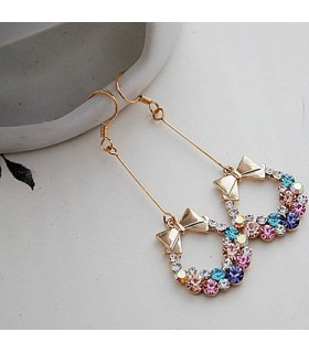 Colorful bowknot embellished long earrings