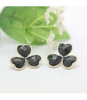 Elegante Ohrringe in Form einer schwarzen Blume
