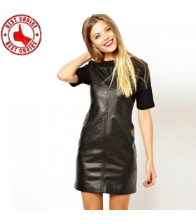Modern PU leather with cotton black casual dress