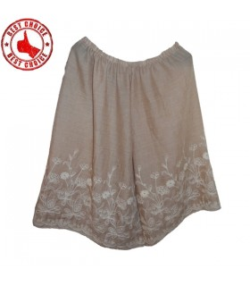 Linen cream embroidered cotton lace skirt