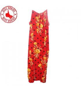 Garofani di seta fiore della stampa vestito rosso