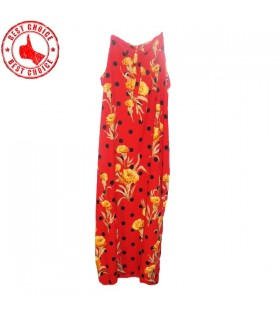 Silk carnations flower print red dress