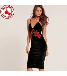 Velvet black red rose embroidery spaghetti straps dress