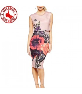 Knee length flower print vintage dress