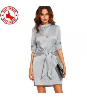 Office grey tie waist dress