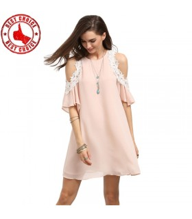 Pink empty shoulder dress