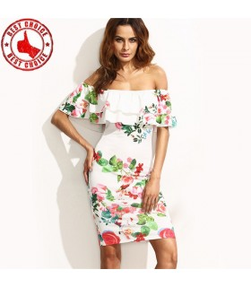 Ladies floral print ruffle off shoulder dress