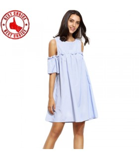 Light blue open shoulder dress