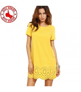 Hollow out yellow casual dress