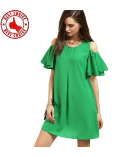 Green cold shoulder ruffle dress