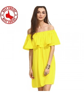 Yellow ruffle off the shoulder short dress