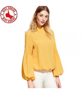 Lantern sleeve yellow shirt