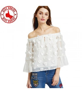 Lace flower white shirt