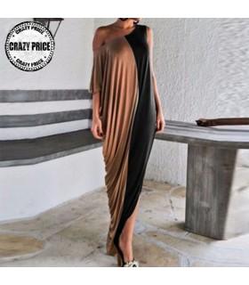 Casual oblique neck wrap dress