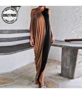 Casual oblique neck wrap dress