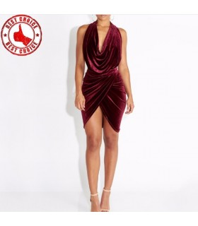 Velvet dark red super sexy dress