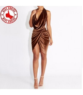 Velvet brown super sexy dress