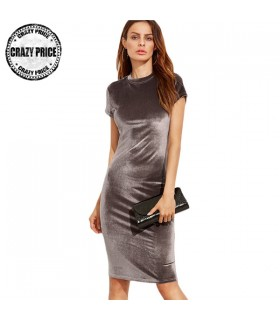 Velvet silver sheath dress