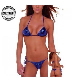 Haut de triangle bleu et  bikini brésilien a bas