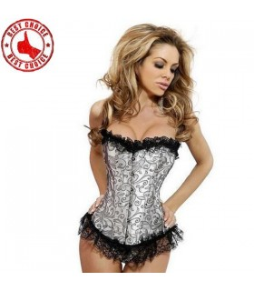 Light silver brocade corset