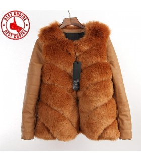 Brown artificial faux fur coat