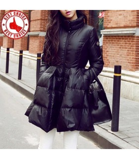 Winter down slim long swing jacket