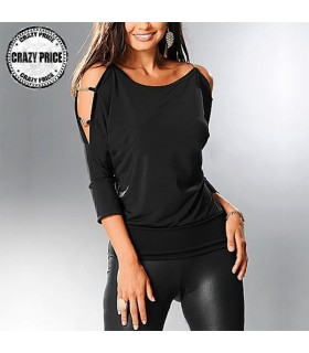 Hollow Out Kette schwarze Bluse