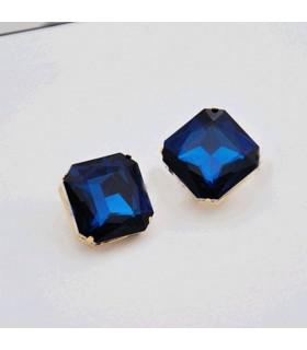 Dark blue big stone stud earrings