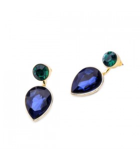 Dark blue crystal pendant earrings