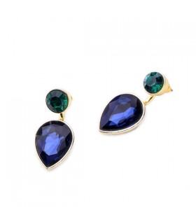 Dark blue crystal pendant earrings