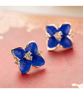 Blaue Blumen-Damen überzogene Rhinestoneohrringe