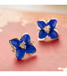 Placcato blu delle signore del fiore d'oro strass orecchini