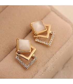 18KG plated geometry square opal stud earrings