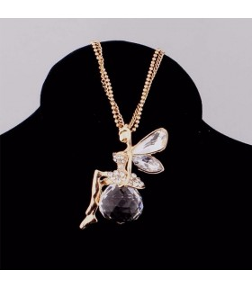 Gold plated crystal angel wings chain necklace