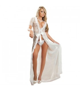Wedding white sheer long fur lingerie