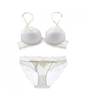 High-end embroidery comfortable bra white set