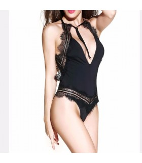 Deep-V bodysuit transparent ultrathin lingerie